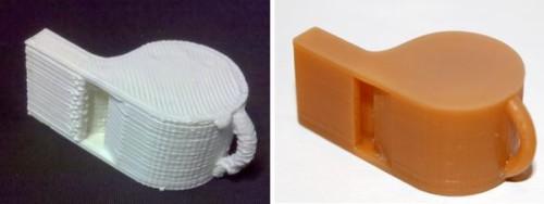 Màu trắng là mẫu in 3D giá rẻ, màu vàng là mẫu in 3D cao cấp