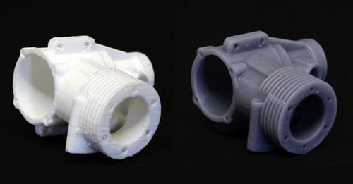 Sự khác biệt công nghệ in 3D: Màu trắng FDM, màu nâu là Plolyjet