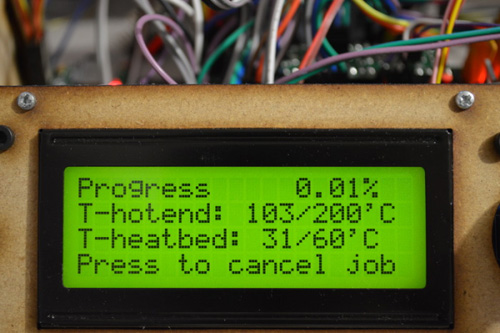 Bảng báo nhiệt độ đầu phun máy in 3D