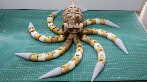 in 3D và công đoạn xử lý mô hình Steampunk Octopus