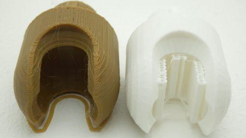 khác biệt giữa 2 tường hợp in 3D không support ( màu nâu) và có support: ( màu trắng)